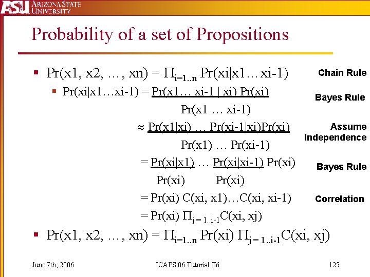 Probability of a set of Propositions § Pr(x 1, x 2, …, xn) =