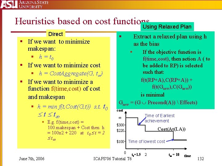 Heuristics based on cost functions Using Relaxed Plan Direct § If we want to