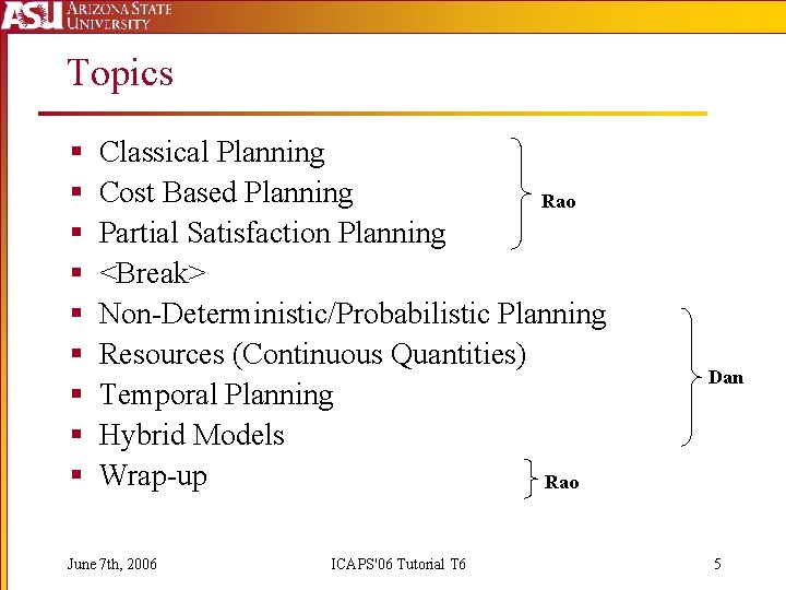 Topics § § § § § Classical Planning Cost Based Planning Rao Partial Satisfaction