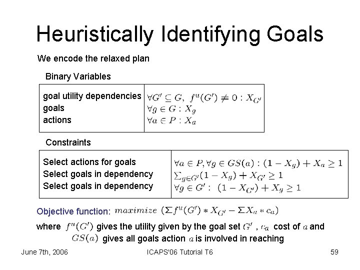 Heuristically Identifying Goals We encode the relaxed plan Binary Variables goal utility dependencies goals