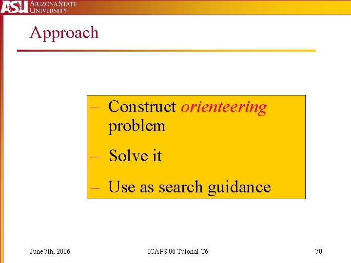 Approach – Construct orienteering problem – Solve it – Use as search guidance June