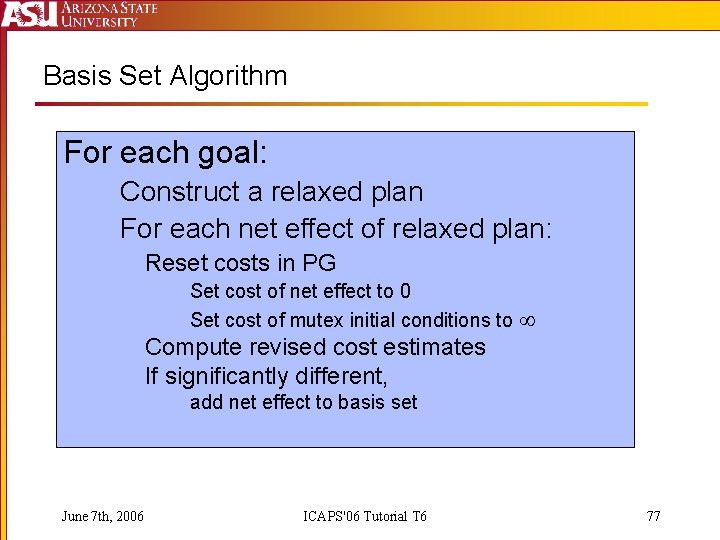 Basis Set Algorithm For each goal: Construct a relaxed plan For each net effect