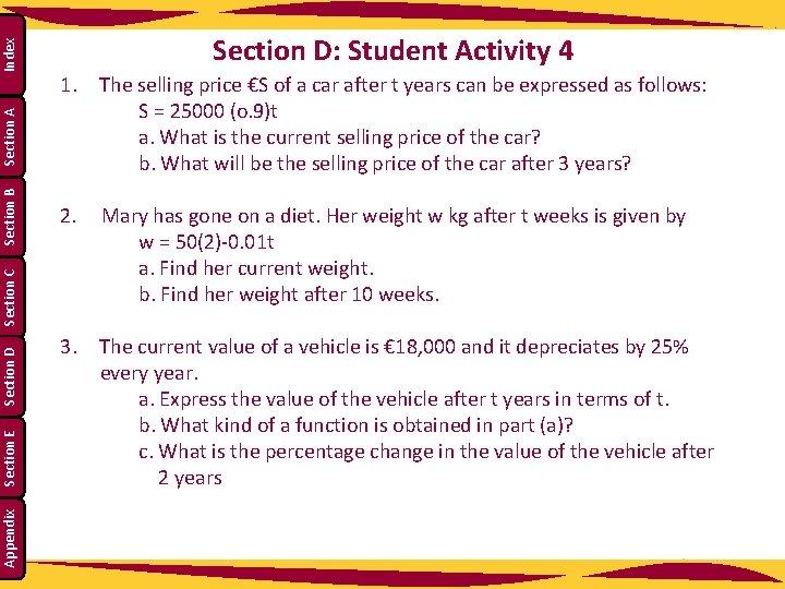 Index Section A Section B Section C Section D Section E Appendix Section D: