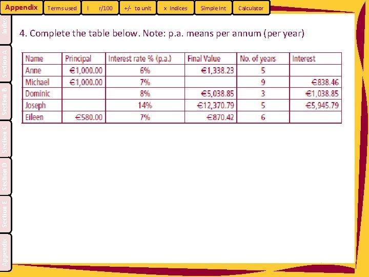 Appendix Section E Section D Section C Section B Section A Index Appendix Terms
