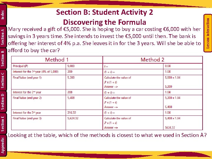 Lesson interaction Index Section A Mary received a gift of € 5, 000. She