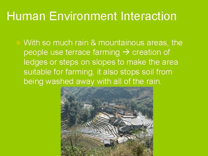 Human Environment Interaction l With so much rain & mountainous areas, the people use
