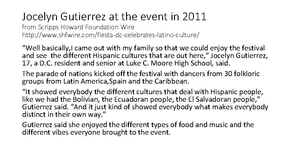Jocelyn Gutierrez at the event in 2011 from Scripps Howard Foundation Wire http: //www.
