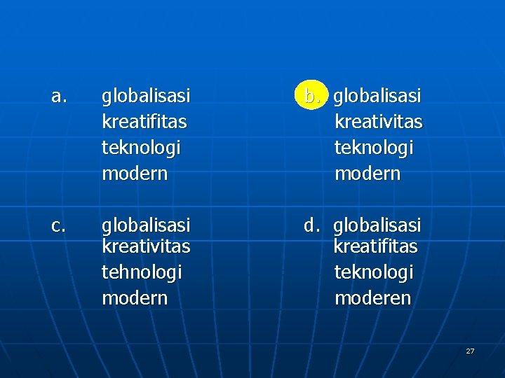 a. globalisasi kreatifitas teknologi modern c. globalisasi kreativitas tehnologi modern b. globalisasi kreativitas teknologi