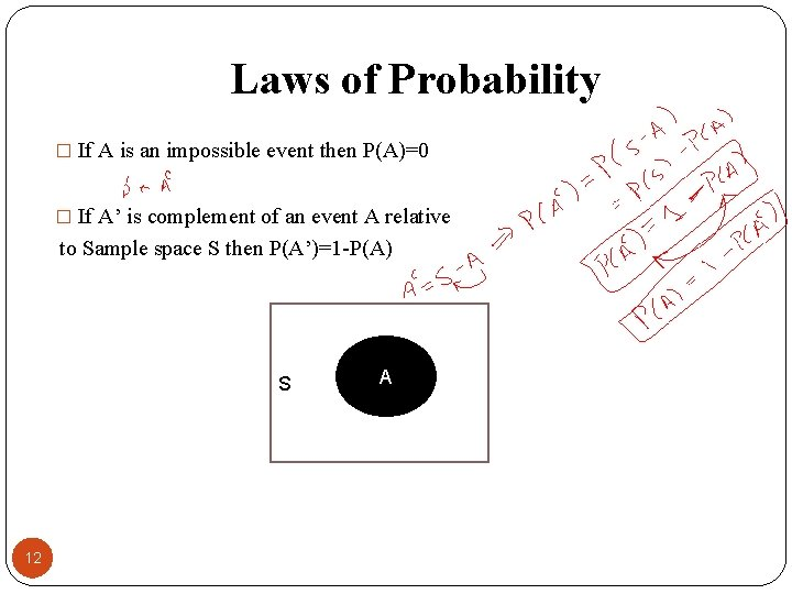 Laws of Probability � If A is an impossible event then P(A)=0 � If