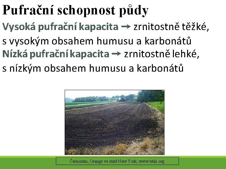 Pufrační schopnost půdy Vysoká pufrační kapacita → zrnitostně těžké, s vysokým obsahem humusu a