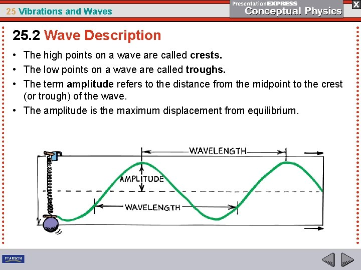 25 Vibrations and Waves 25. 2 Wave Description • The high points on a