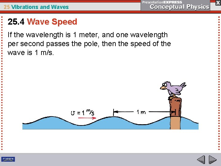 25 Vibrations and Waves 25. 4 Wave Speed If the wavelength is 1 meter,