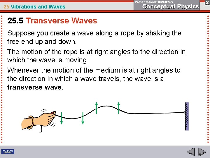 25 Vibrations and Waves 25. 5 Transverse Waves Suppose you create a wave along