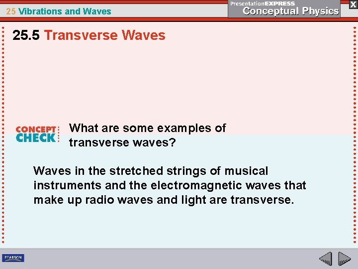 25 Vibrations and Waves 25. 5 Transverse Waves What are some examples of transverse