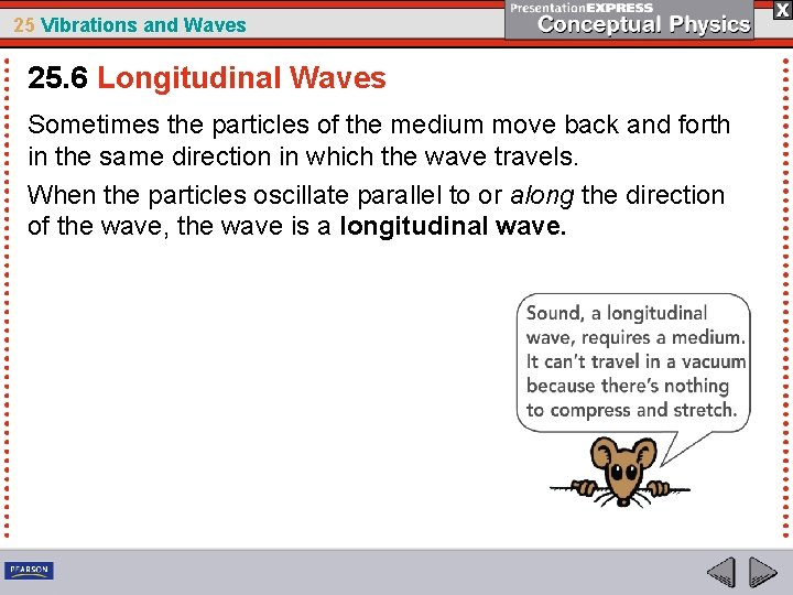 25 Vibrations and Waves 25. 6 Longitudinal Waves Sometimes the particles of the medium