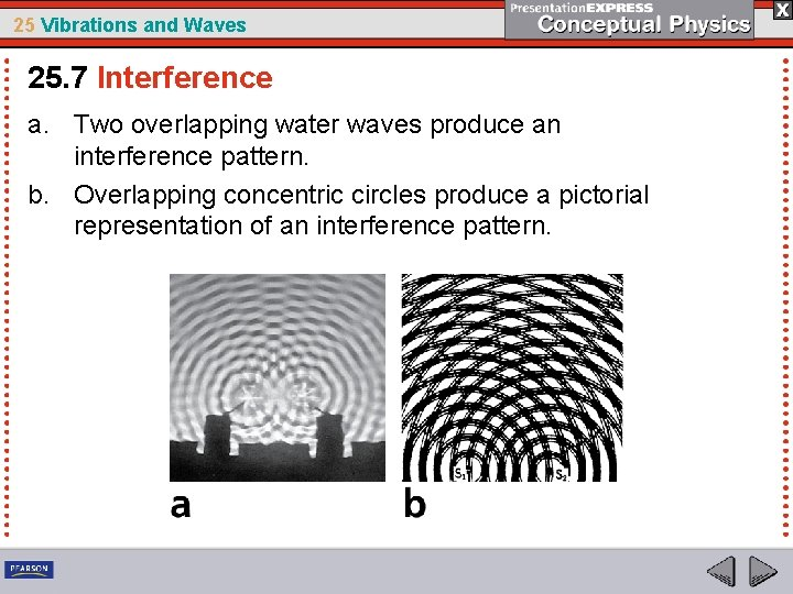 25 Vibrations and Waves 25. 7 Interference a. Two overlapping water waves produce an