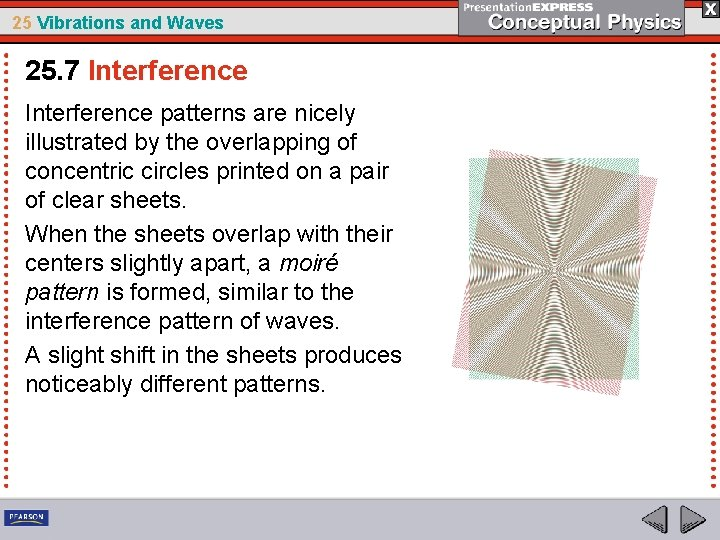 25 Vibrations and Waves 25. 7 Interference patterns are nicely illustrated by the overlapping