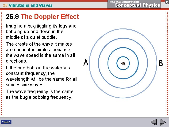25 Vibrations and Waves 25. 9 The Doppler Effect Imagine a bug jiggling its