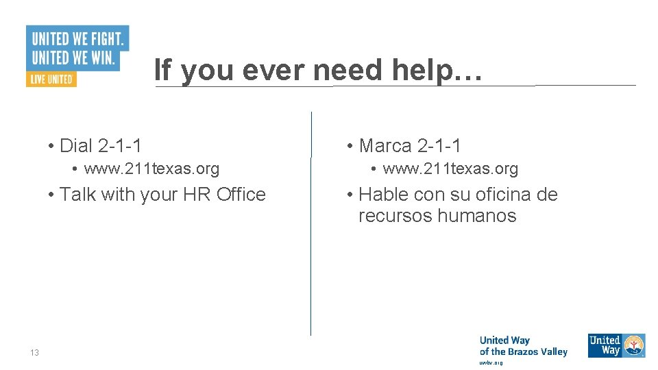 If you ever need help… • Dial 2 -1 -1 • www. 211 texas.