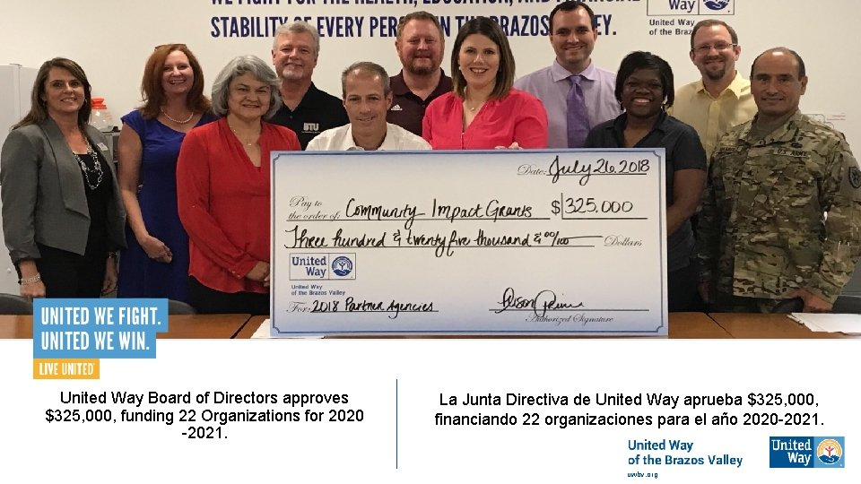 United Way Board of Directors approves $325, 000, funding 22 Organizations for 2020 -2021.