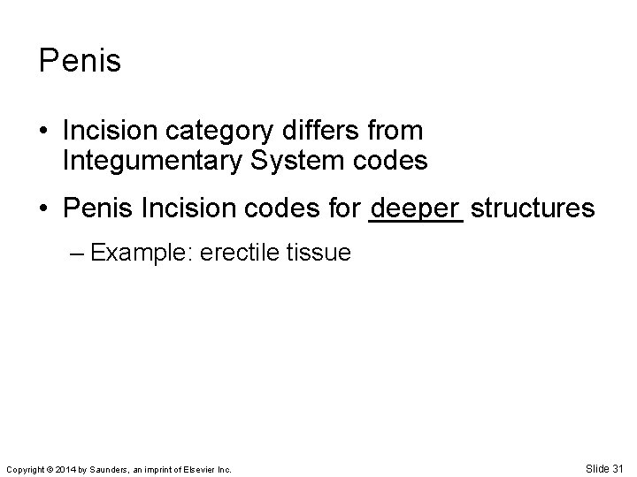 Penis • Incision category differs from Integumentary System codes • Penis Incision codes for