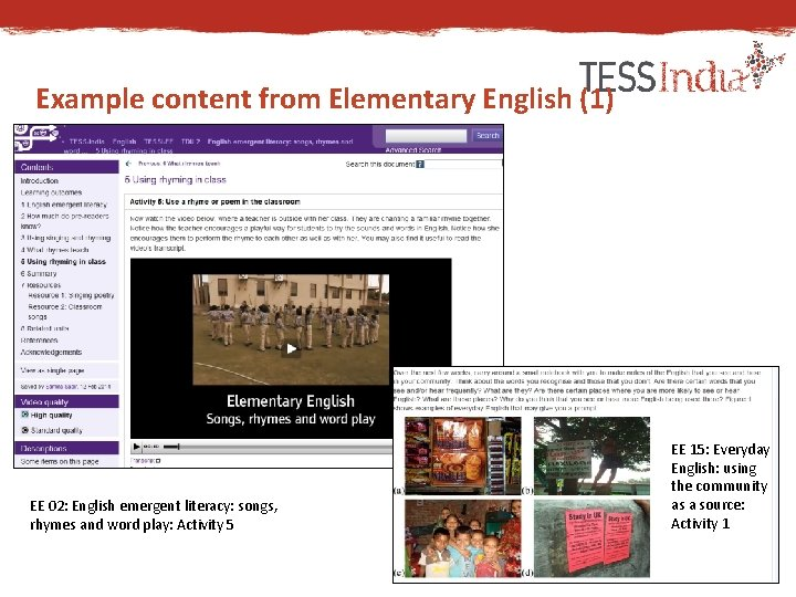 Example content from Elementary English (1) EE 02: English emergent literacy: songs, rhymes and