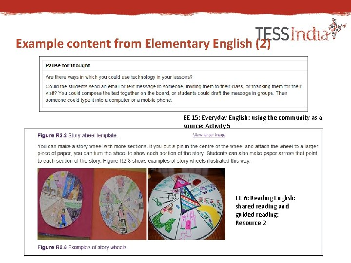 Example content from Elementary English (2) EE 15: Everyday English: using the community as