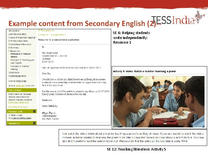 Example content from Secondary English (2)-SE 6: Helping students write independently: Resource 1 SE