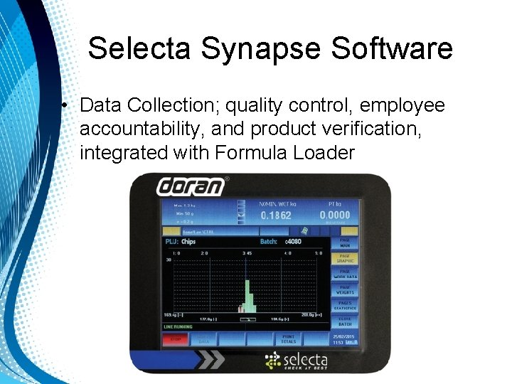 Selecta Synapse Software • Data Collection; quality control, employee accountability, and product verification, integrated