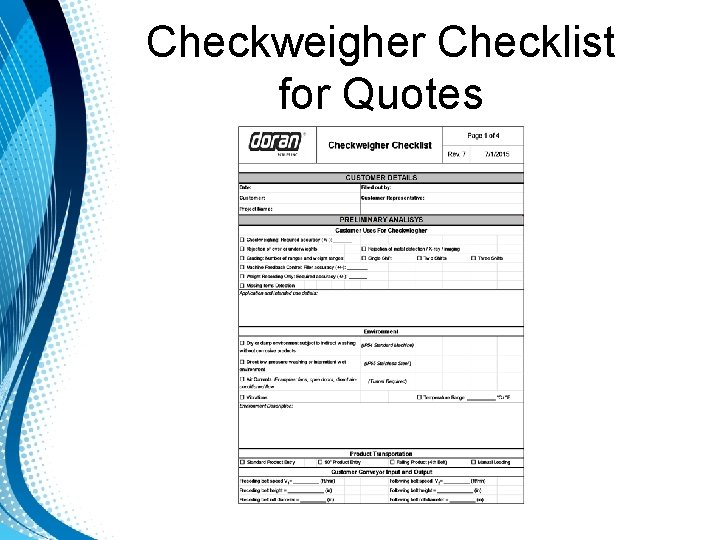 Checkweigher Checklist for Quotes