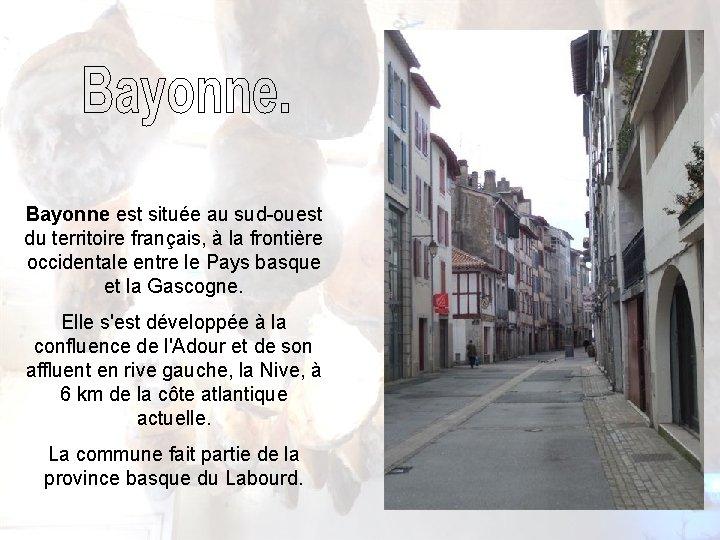 Bayonne est située au sud-ouest du territoire français, à la frontière occidentale entre le