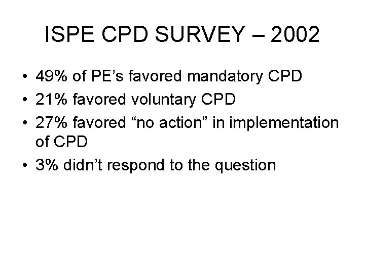 ISPE CPD SURVEY – 2002 • 49% of PE's favored mandatory CPD • 21%