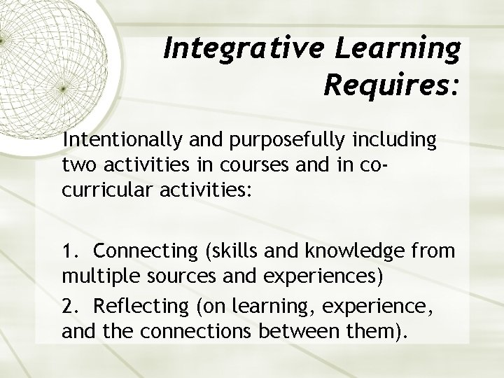 Integrative Learning Requires: Intentionally and purposefully including two activities in courses and in cocurricular