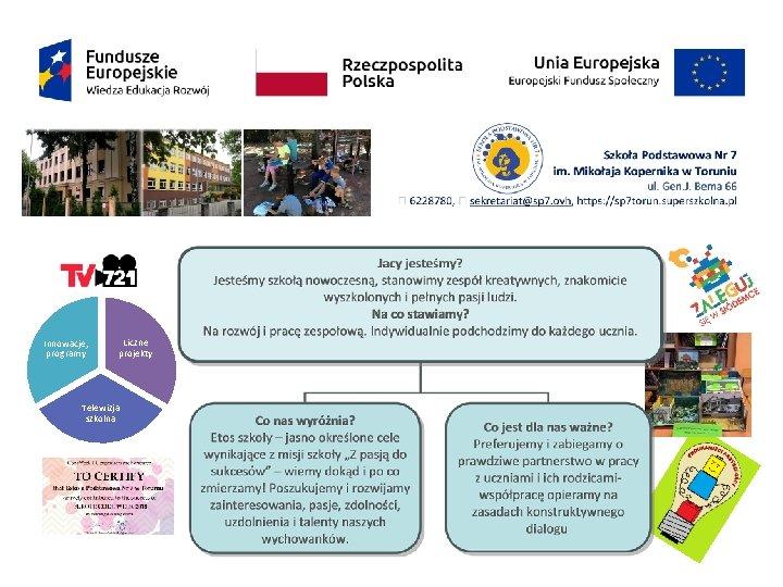 Innowacje, programy Liczne projekty Telewizja szkolna