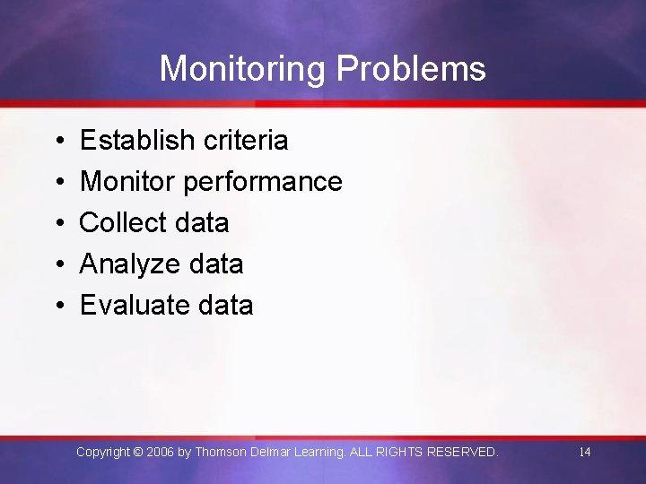 Monitoring Problems • • • Establish criteria Monitor performance Collect data Analyze data Evaluate