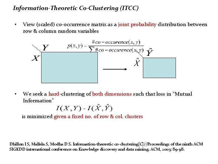 Information-Theoretic Co-Clustering (ITCC) • View (scaled) co-occurrence matrix as a joint probability distribution between