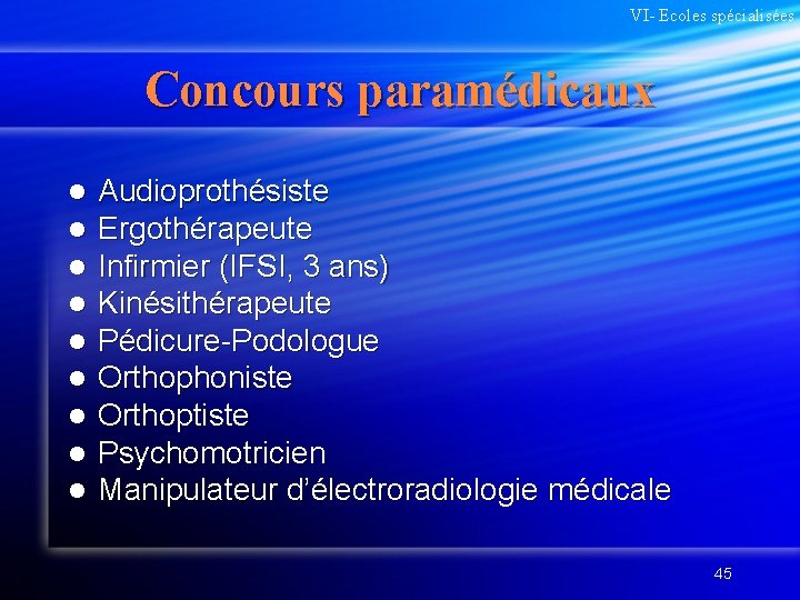 VI- Ecoles spécialisées Concours paramédicaux l l l l l Audioprothésiste Ergothérapeute Infirmier (IFSI,