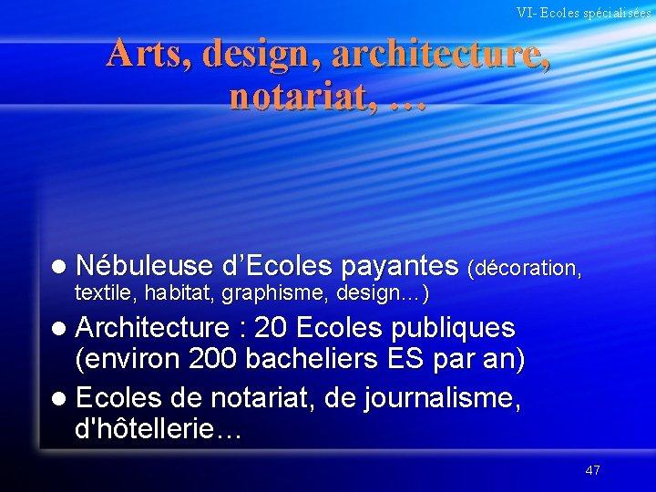 VI- Ecoles spécialisées Arts, design, architecture, notariat, … l Nébuleuse d'Ecoles payantes (décoration, textile,