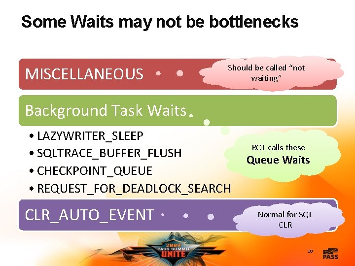 """Some Waits may not be bottlenecks MISCELLANEOUS Should be called """"not waiting"""" Background Task"""