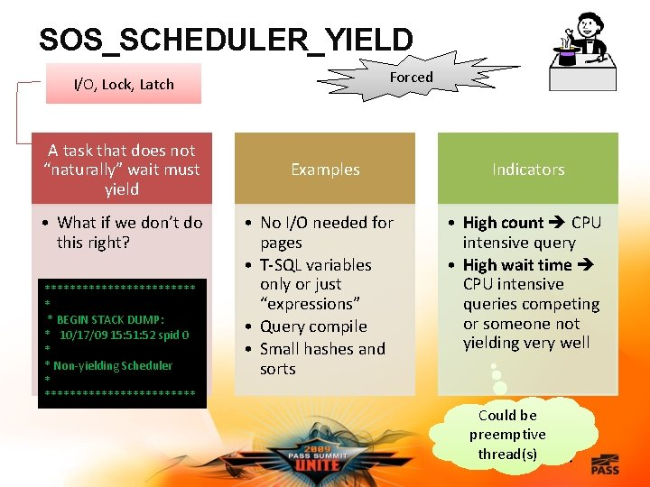 """SOS_SCHEDULER_YIELD Forced I/O, Lock, Latch A task that does not """"naturally"""" wait must yield"""