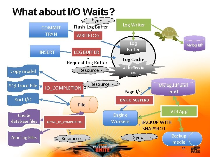 What about I/O Waits? COMMIT TRAN INSERT Copy model SQLTrace File Sort I/O Create