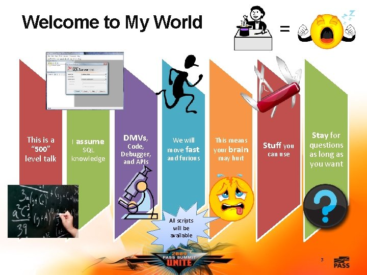 """Welcome to My World This is a """" 500"""" level talk I assume SQL"""