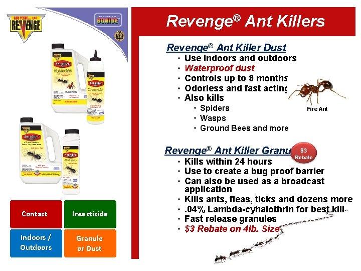 Revenge® Ant Killers Revenge® Ant Killer Dust • • • Use indoors and outdoors