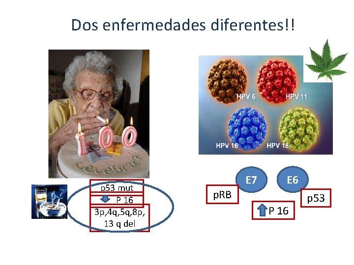 Dos enfermedades diferentes!! p 53 mut P 16 3 p, 4 q, 5 q,