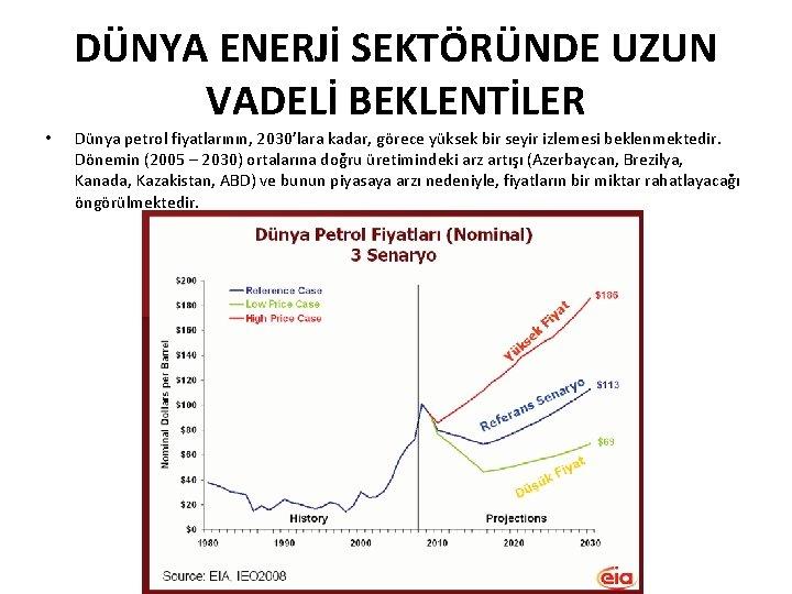 DÜNYA ENERJİ SEKTÖRÜNDE UZUN VADELİ BEKLENTİLER • Dünya petrol fiyatlarının, 2030'lara kadar, görece yüksek