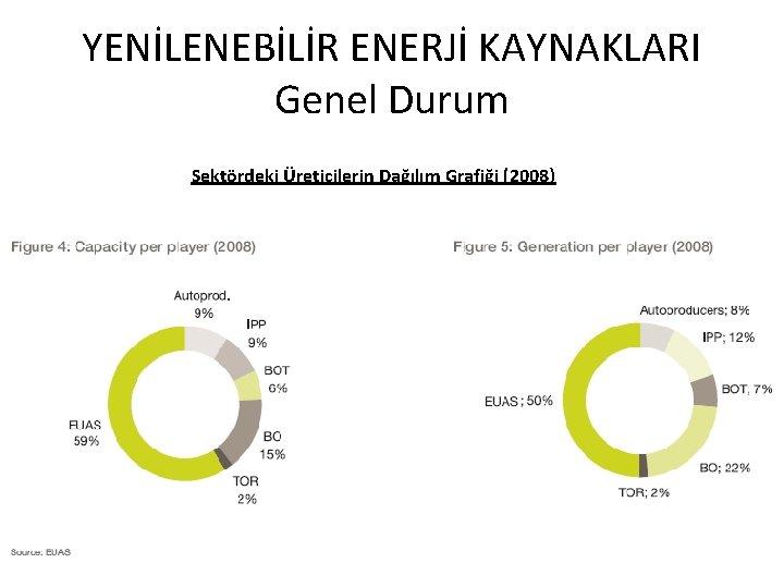 YENİLENEBİLİR ENERJİ KAYNAKLARI Genel Durum Sektördeki Üreticilerin Dağılım Grafiği (2008)