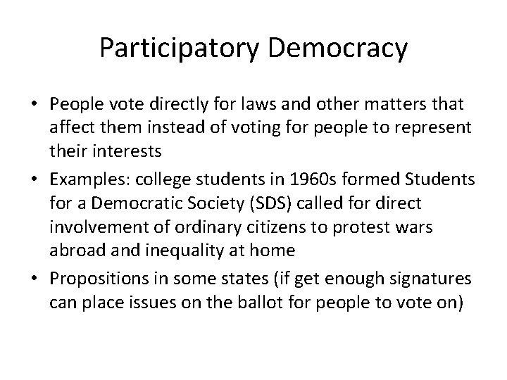 Ap Gov Three Types Of Democracies Participatory Democracy