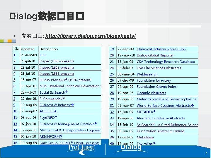 Dialog数据�目� • 参看��:http: //library. dialog. com/bluesheets/ 7 7