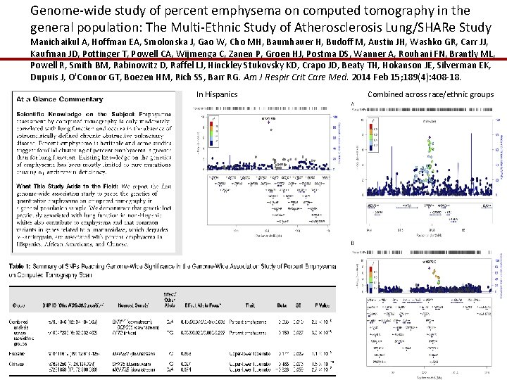 Genome-wide study of percent emphysema on computed tomography in the general population: The Multi-Ethnic