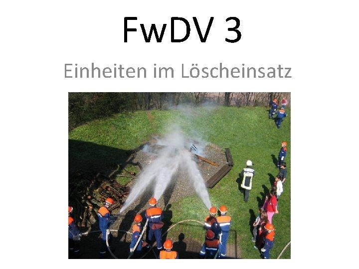 Fw. DV 3 Einheiten im Löscheinsatz
